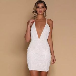 White sequin alter back dress